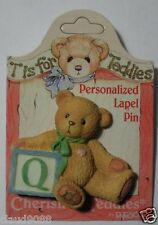 "CHERISHED TEDDIES  ""PERSONALIZED - LAPEL PIN LETTER  'Q'""  203297Q  MINT"