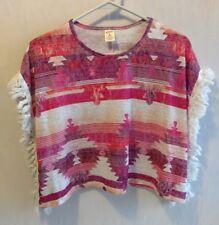 Arizona Jean Girls Medium 10/12 Red Native American Poncho Style Shirt Fringes