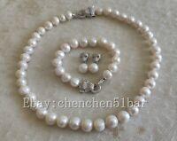 11-12mm weiße Süßwasserperlen Tiger Kopf Halskette Armband 18/8 Zoll & Ohrringe