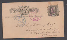 **US 19th Cent Post Sta Cover SC# UX5, Plymouth MA, 11/4/1878, Carrier F/C Star