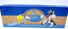 Looney Tunes Vintage 1997 Ceramic Coasters Tweety, Taz Pepe Le Pew Set Of 6