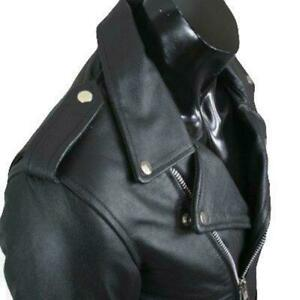 REV Leather Mens Black Classic Motorcycle Perfecto Brando Cowhide Jacket Biker