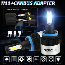 NIGHTEYE H11 H8 H9 9000LM 72W COB LED Headlight Kit Bulbs 6500K w/Canbus Adapter