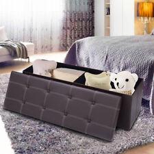 """45""""x15""""x15"""" Large Folding Storage Faux Leather Ottoman Pouffe Box Stool Brown"""