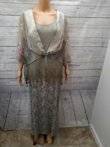 Vtg Spencer Alexis Maxi Dress Blazer Set Womens 2X 1X Sage Green Lace 1/2 Sleeve