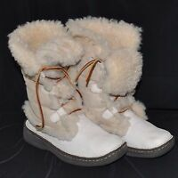 Born Nome Boots Leather Suede Shearling  Sz 6 Ivory Cream Lace Up UK 36.5 Warm