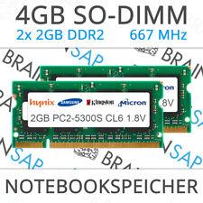 4GB (2x 2GB) DDR2 RAM PC2-5300S PC2-6400S 2Rx8 667 MHz Notebook Laptop Speicher