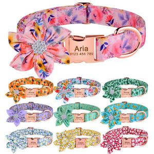 Personalised Girl Flower Dog Collar Engraved ID Tag Small Medium Large Puppy