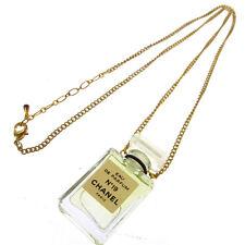Authentic CHANEL Vintage CC Logos Gold Chain Perfume Pendant Necklace AK16546h