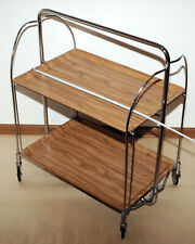 SERVING TABLE Mid-Century Modern Folding Tea Cart Chrome Plywood Bauhaus Style
