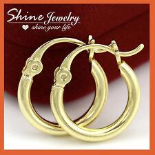 Plain Round Ring Hoop Small Sleeper Earrings 18K Gold Gf Solid Mens Ladies Kids