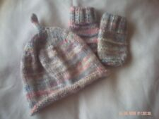 Hand Knitted Multi Coloured Hat And Mittens Size 3-6 Months.