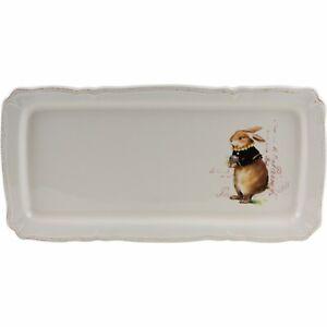 "Magenta Easter Bunny Rabbit Serving Tray Platter White 14"""