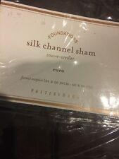 "Pottery Barn Silk Channel Sham Chocolate Brown Euro 26 X 26"" New"