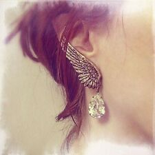 Stud Earring Superb Exaggerated Personality Angel Wings Water Droplets Ear Clip
