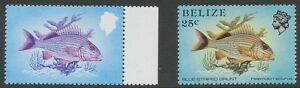 BELIZE 1984 25 C. Fish superb U/M VARIETY: MSSING COLOURS BLACK AND YELLOW