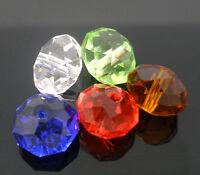 50 Mix Kristall Böhmische Glasschliffperlen Glasperlen Facettiert Beads 10mm