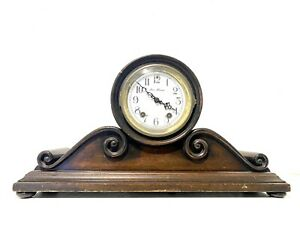 "ANTIQUE RARE NEW HAVEN WODDEN ALARM MANTLE CLOCK. WORKS GREAT 20"" X 11"""