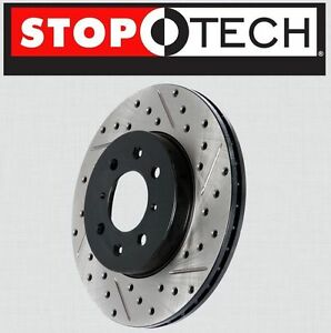 FRONT [LEFT & RIGHT] Stoptech SportStop Drilled Slotted Brake Rotors STF61003