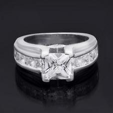 2.00 Carat Sterling Silver Princess Cut Womens Bridal Ring