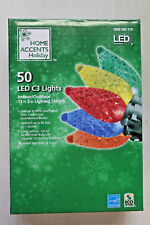 50 Count Multi-Color C3 LED Christmas Lights on Green Wire  NIB