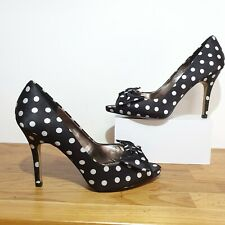 RRP £89 Phase Eight Polka Dot Black Satin Bow Peep Toe Heels Court Shoes Size 6