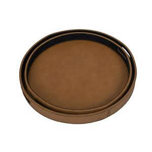 DFR Classic Leatherette Round Shaped Serving Trays