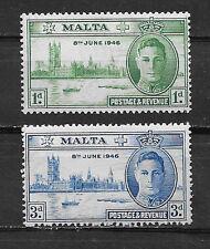 MALTA , GEORGE VI , 1946 , PEACE ISSUE , SETOF 2 , PERF , VLH