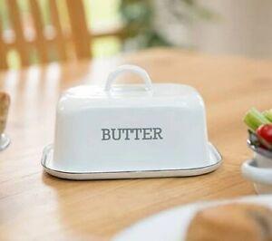 VINTAGE White Enamel BUTTER DISH with Lid SERVING Kitchen TABLE Bowl Metal