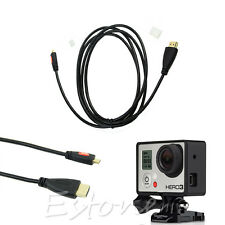 6FT Micro HDMI to HDMI 1080P HD TV Cable Cord Adapter For Camera GoPro HD Hero 3