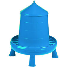 Double-Tuf High Capacity 17.5lb Durable Poultry Feeder Container with Legs, Blue
