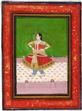 INDIAN MINIATURE PAINTING MUGHAL ART PORTRAIT FINE GOLD DECORATION COLLECTABLE