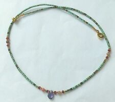 Afghan Natural Tiny Seed Beads Turquoise with Amethyst Pendant, Garnet Handmade