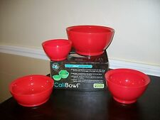 Calibowl Cali Stack *Set of 4* NIB Plastic Multi-Sized Mixing Bowls RED