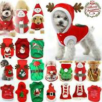 Christmas Puppy Dog Jumper Outfit Pet Reindeer Costume Hooded Clothes Coat