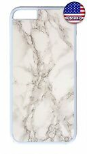 Slim Rubber Case Cover For iPhone 7 6 6s Plus 5 5s 5c 4s White Marble Granite