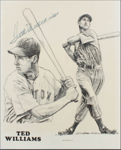 Ted Williams 11x13 Signed auto George Desko Lithograph photo Boston Red Sox JSA