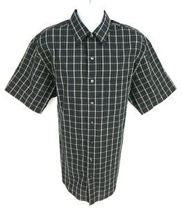 Van Heusen Studio Dress Shirt No Iron Mens XLT Black White Checks Short Sleeve