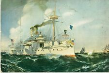 VINTAGE ORIGINAL 1895 COLOR LITHOGRAPH PRINT + U.S.S. MAINE + BY F.N. ATWOOD