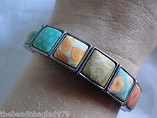 New Jilzara Handmade Clay Bead Summer Cottage Multi Color Square Wrap Bracelet