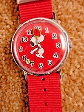 Vintage Red Snoopy1958 Mechanical Wind Up Tennis Wrist Watch with new nylon band