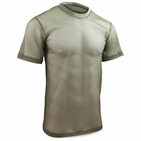 Mens Mesh Breathable Military Army Soldier Short Sleeve Base Layer T-Shirt Green
