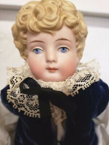All Bisque Doll with Molded Blond Curls