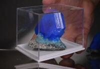 Chalcanthit kristalle auf Matrix aus Polen blau wie Azurit oder Tansanit + BOX