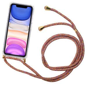 Handyhülle Schutzhülle Klar Kordel Handykette Umhängeschnur-Rainbow Apple iPhone