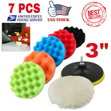 "7Pcs 3"" Polishing Waxing Buffing Wool Sponge Pads Kit Compound Car Polisher Set"