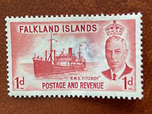 Falkland Islands George VI 1952 1d One Penny Scarlet SG 173