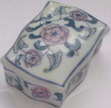 Vintage Miniature Bone China Rectangle Trinket Box W/ Soft Pink Flowers Pattern