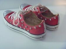 GENUINE WOMENS STUD EMBELLISHED RED CONVERSE CRYSTAL STUDDED LOW BLING PUMP UK 6