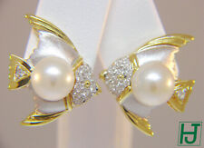 Brand New Angel Fish Pearl and Diamond Earrings in 18k Multi-Tone Gold